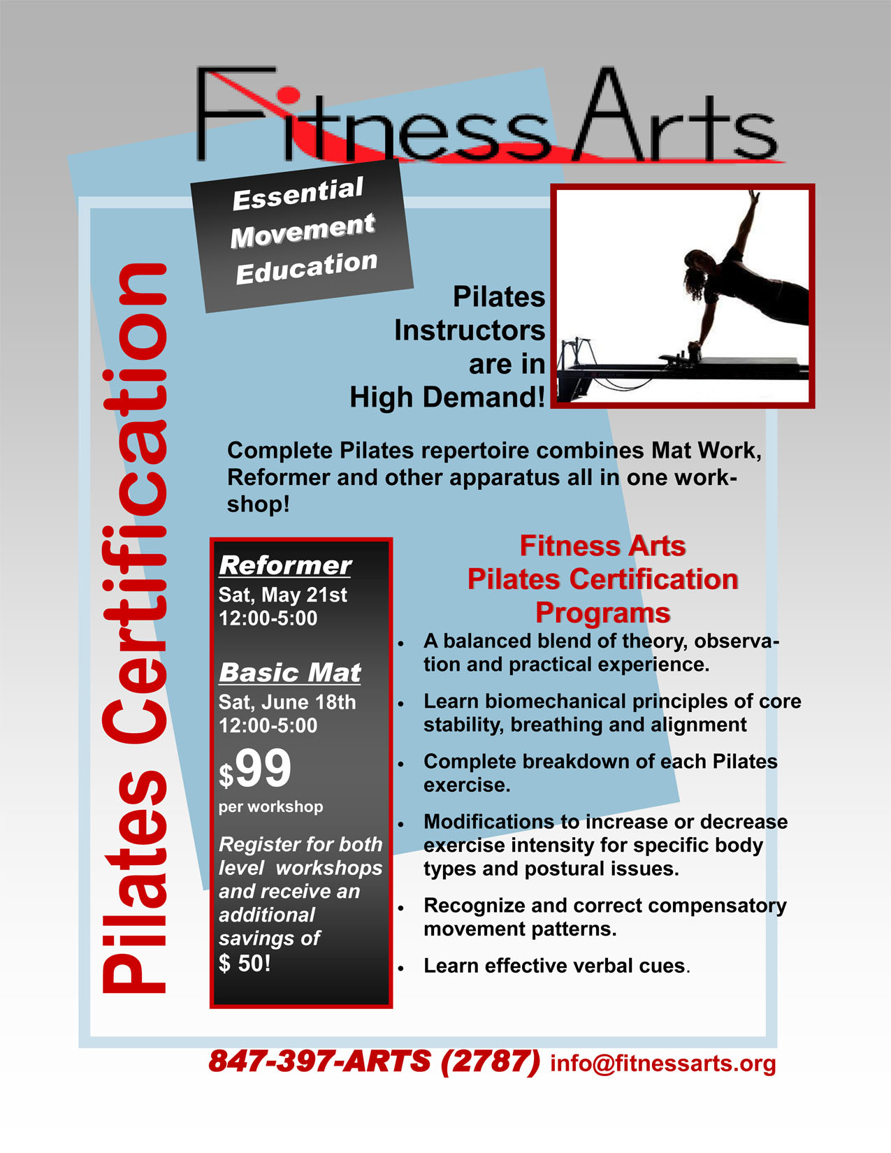Pilates Certification Workshops May 21 June 18 2011 Fitness Arts